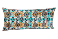 In-Sattva Home Geometric and Ancient Art Hand-Embellished Cotton Cushion Cover Decorative Pillow, BBr, 14 x 30