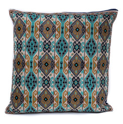 In-Sattva Home Geometric and Ancient Art Hand-Embellished Cotton Cushion Cover Decorative Pillow, BBr, 20 x 20