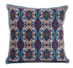 In-Sattva Home Geometric and Ancient Art Hand-Embellished Cotton Cushion Cover Decorative Pillow, Nvy, 20 x 20