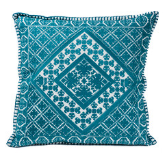 In-Sattva Teal Symmetrical Embroidered Cushion Cover and Pillow 20 X 20