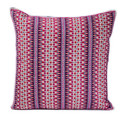 In-Sattva Purple Contemporary Embroidered Cushion Cover and Pillow 20 X 20