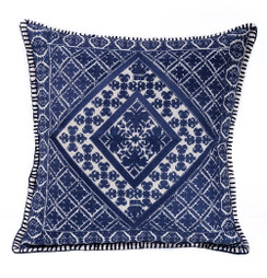 In-Sattva Navy Symmetrical Embroidered Cushion Cover and Pillow 20 X 20