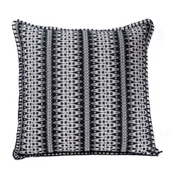 In-Sattva Black Contemporary Embroidered Cushion Cover and Pillow 20 X 20