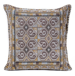 In-Sattva Home Geometric and Ancient Art Hand-Embellished Cotton Cushion Cover Decorative Pillow, BrSwrl, 20 x 20