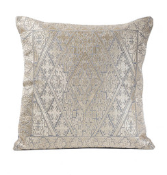 In-Sattva Off-White Gold Diamond Embroidered Cushion Cover and Pillow 20 X 20