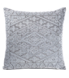 In-Sattva Off-White Shiny Embroidered Cushion Cover and Pillow 20 X 20