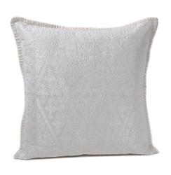 In-Sattva White Diamond Embroidered Cushion Cover and Pillow 20 X 20