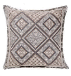 In-Sattva Brown White Diamond Cushion Cover and Pillow 20 X 20