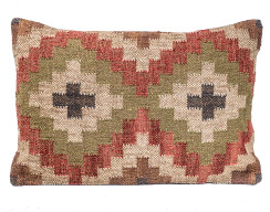 In-Sattva Symmetrical Diamond Patchwork Canvas Cushion Cover and Pillow