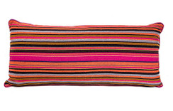 In-Sattva Fuchsia Stripe Canvas Cushion Cover and Pillow 14 X 30