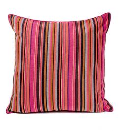 In-Sattva Fuchsia Stripe Canvas  Cushion Cover and Pillow 24 X 24