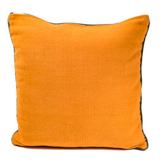 In-Sattva Orange Green Solid Canvas Cushion Cover and Pillow