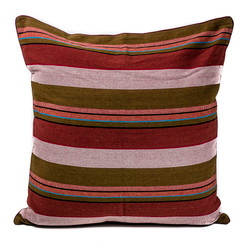 Rangeene Red White Pinstripe Cushion Cover and Pillow 24 X 24