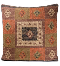 In-Sattva Frame Square Patchwork Canvas Cushion Cover and Pillow