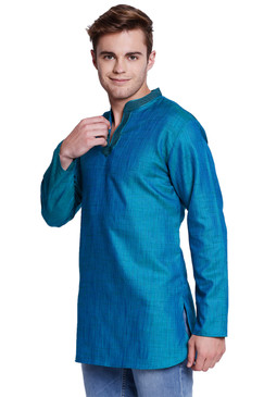 Shatranj Men's Band Collar Classic Teal Kurta Tunic With Embroidered Placket