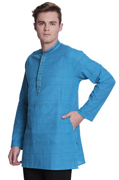 Shatranj Men's Band Collar Pure Cotton Kurta Tunic With Fine Embroidered Placket