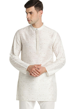 Shatranj Men's Indian Band Collar Mid-Length Tunic Kurta Space Dobby Print