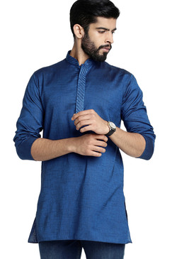 Shatranj Men's Indian Banded Collar Classic Kurta Tunic With Embroidered Placket