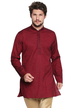 Shatranj Men's Indian Banded Collar Classic Kurta Tunic With Embroidered Placket Maroon