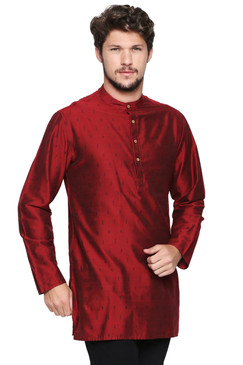 Shatranj Men's Indian Banded Collar Mid-Length Tunic Kurta Micro Dobby Pattern Maroon