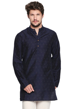 Shatranj Men's Indian Banded Collar Mid-Length Tunic Kurta Micro Dobby Pattern Navy