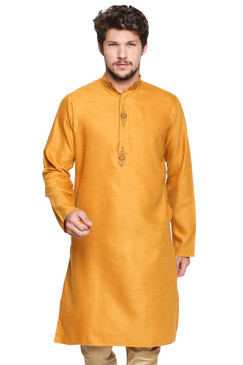 Shatranj Men's Indian Classic Collar Long Kurta Tunic with Embroidered Placket Mustard