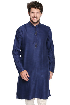 Shatranj Men's Indian Classic Collar Long Kurta Tunic with Embroidered Placket Navy