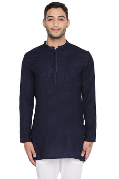 Shatranj Men's Indian Mandarin Collar Handcrafted Dobby Embroidered Kurta Tunic Navy