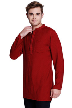 Shatranj Men's Indian Mandarin Collar Handcrafted Dobby Embroidered Kurta Tunic Maroon