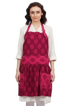 In-Sattva Home 100% Pure Cotton Bohemian Print Adjustable Women's Bib Apron with Pockets Pink