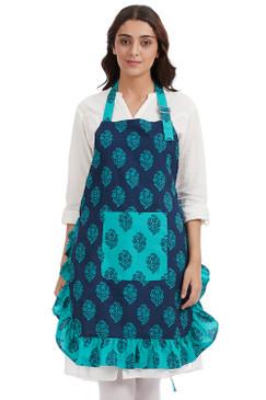 In-Sattva Home 100% Pure Cotton Bohemian Print Adjustable Women's Bib Apron with Pockets Multi