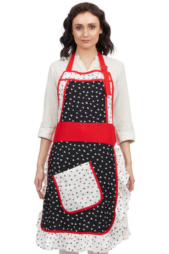 In-Sattva Home 100% Pure Cotton Bohemian Print Adjustable Women's Bib Apron with Pockets Black