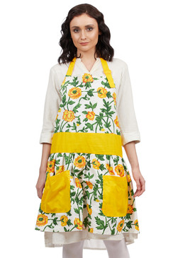 In-Sattva Home 100% Pure Cotton Bohemian Print Adjustable Women's Bib Apron with Pockets Yellow