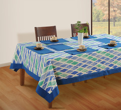 In-Sattva Home 100% Cotton Boho Mosaic Diamond Tile Print Washable Rectangular Table Cover Cloth Blue