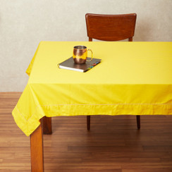 In-Sattva Home 100% Cotton Solid Color Soft Feel Washable Rectangular Table Cover Cloth Mustard