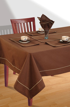 In-Sattva Home 100% Cotton Solid Color Soft Feel Washable Rectangular Table Cover Cloth Chocolate