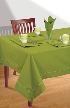 In-Sattva Home 100% Cotton Solid Color Soft Feel Washable Rectangular Table Cover Cloth Green