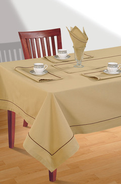 Rangeene Home 100% Cotton Solid Color Soft Feel Washable Rectangular Table Cover Cloth Beige