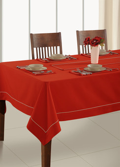 In-Sattva Home 100% Cotton Solid Color Soft Feel Washable Rectangular Table Cover Cloth Red
