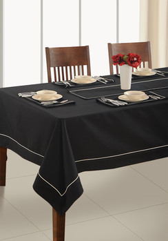 In-Sattva Home 100% Cotton Solid Color Soft Feel Washable Rectangular Table Cover Cloth Black