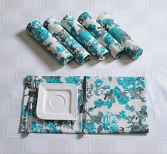 In-Sattva Home Serene Spring Print 100% Cotton Soft Touch Feel Bohemian Table Napkin Set