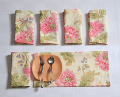 In-Sattva Home 100% Cotton Signature Serene Flower Print Soft Touch Bohemian Table Napkin Set