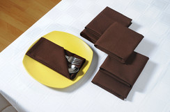 In-Sattva Home 100% Pure Cotton Solid Color Soft Touch Feel Table Napkin Set Choco