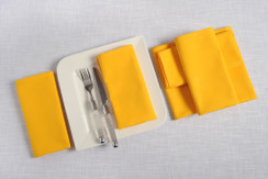In-Sattva Home 100% Pure Cotton Solid Color Soft Touch Feel Table Napkin Set Yellow
