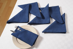 In-Sattva Home 100% Pure Cotton Solid Color Soft Touch Feel Table Napkin Set Navy