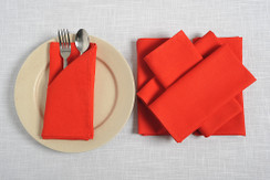 In-Sattva Home 100% Pure Cotton Solid Color Soft Touch Feel Table Napkin Set Red