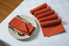 In-Sattva Home 100% Pure Cotton Solid Color Soft Touch Feel Table Napkin Set Rust