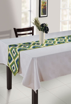 In-Sattva Home Bohemian Signature Print Table Runner and Dresser Scarves for Family, Get-togethers and Everyday Use Green