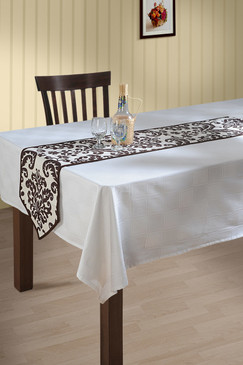 Rangeene Home Bohemian Signature Print Table Runner and Dresser Scarves for Family, Get-togethers and Everyday Use Brown