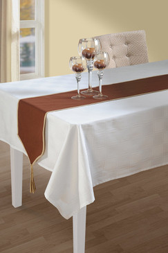 In-Sattva Home 100% Cotton Solid Table Runner and Dresser Scarves with Fringe for Family, Get-Togethers and Everyday Use Brown